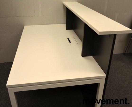 Moderne resepsjon i hvitt/mørk grått, 160cm bredde, komplett med pult, NY/UBRUKT bilde 5