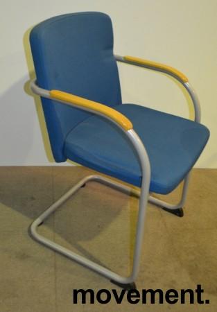 HovDokka møteromsstol / besøksstol i blågrønt stoff, pent brukt bilde 2