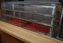 Kjøledisk / kantinedisk i rustfritt stål med luker, for ekstern kjølemotor, pent brukt