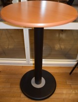 Ståbord / barbord i bøk/sort Ø=70cm, H=110cm, pent brukt