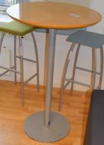 Ståbord, rundt Ø=70cm H=110cm, bjerk plate, grått understell, brukt