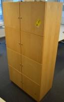 Martela lukeskap / skap med 8 låsbare dører i bjerk, 164,5cm høyde, pent brukt