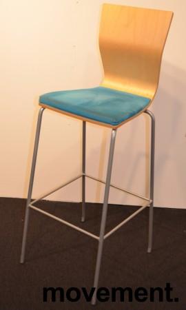 Barkrakk / barstol fra HovDokka, bjerk rygg, sete trukket i turkis mikrofiber, pent brukt bilde 2