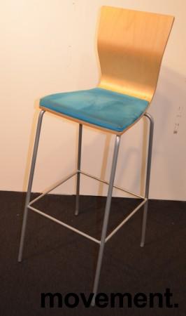 Barkrakk / barstol fra HovDokka, bjerk rygg, sete trukket i turkis mikrofiber, pent brukt bilde 1