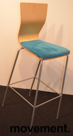 Barkrakk / barstol fra HovDokka, bjerk rygg, sete trukket i turkis mikrofiber, pent brukt bilde 3