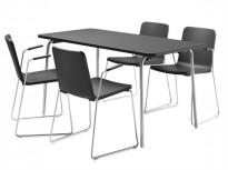 Skandiform Pompidoo stablestol / konferansestol med armlene i sort, pent brukt