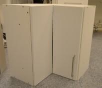 Overskap til kjøkken i hvitt, hjørneskap, 61,5x61,5cm, høyde 72cm, pent brukt