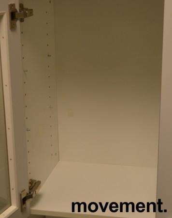 Overskap til kjøkken i hvitt med glassdører, bredde 73cm, høyde 60cm, pent brukt bilde 2