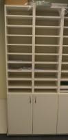 Posthylle / sorteringshylle i hvitt med 10 rom, bredde 40cm, høyde 200cm, pent brukt