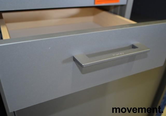 Martela Combo grå ringpermreol med 3 skuffer og skyvedører i grått,3H, 126 cm H, pent brukt bilde 3