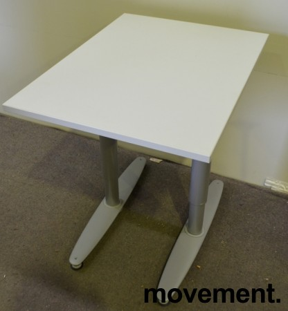 Avlastningsbord tilleggsbord tilskrivebord printerbord fra Kinnarps i hvitt, 60x80cm, pent brukt