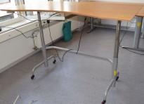 Edsbyn elektrisk hevsenk skrivebord på hjul 180x90cm, med magebue, bøk plate m slitasje, brukt