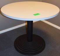 Rundt bord i grått Ø=90cm H=73,5cm, sort søylefot, pent brukt