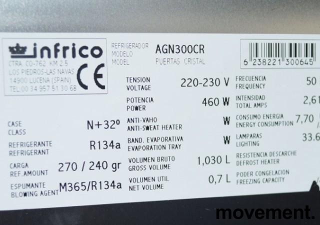 Infrigo AGN300CR, smalt kjøleskap for storkjøkken, med glassdør, 48cm bredde, pent brukt bilde 3