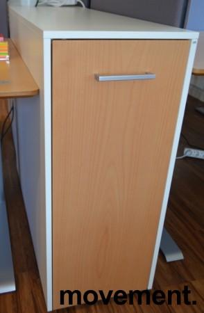 Tårnskap / uttrekksskap fra Cube, hvitt skrog med bøk dør, 2 høyder, bredde 37cm, høyde 88cm, dybde 95cm, pent brukt bilde 1