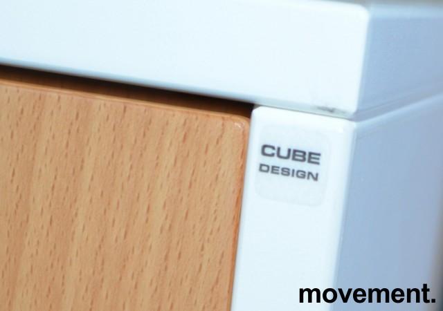 Tårnskap / uttrekksskap fra Cube, hvitt skrog med bøk dør, 2 høyder, bredde 37cm, høyde 88cm, dybde 95cm, pent brukt bilde 4