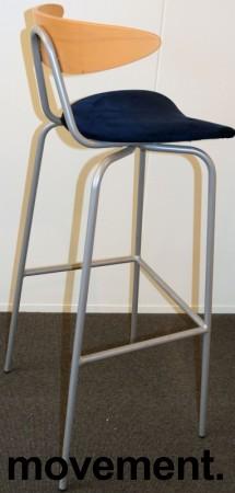 Barkrakk fra Mitab, modell TORO, bøk/blå mikrofiber, 78cm sittehøyde, pent brukt bilde 2