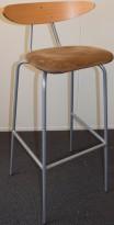 Barkrakk fra Mitab, modell TORO, bøk/beige mikrofiber, 78cm sittehøyde, pent brukt
