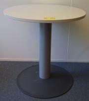 Lite, rundt bord i Kinnarps E-serie, Lys grå plate Ø=70cm H=72,5cm, pent brukt