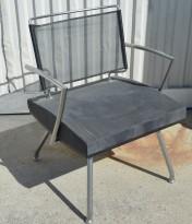 ForaForm Burell 1-seter / loungestol i grå mikrofiber / mesh, pent brukt