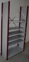 Stålhylle med 2stk sidegavler 210cm høyde og 6 stk 100x40cm hylleplater, pent brukt