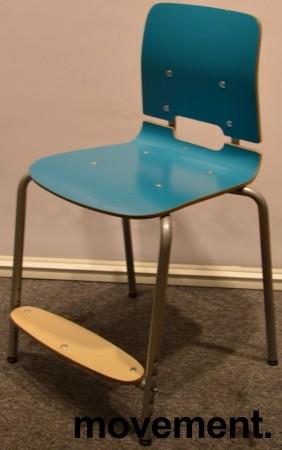 Stablestoler / skolestoler fra EFG, modell Classroom, stol med 4-ben, Turkis med fotplate, pent brukt bilde 1