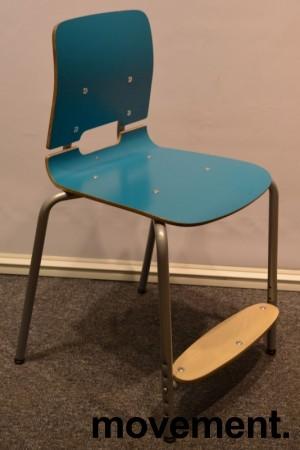 Stablestoler / skolestoler fra EFG, modell Classroom, stol med 4-ben, Turkis med fotplate, pent brukt bilde 2