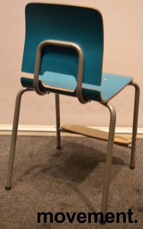 Stablestoler / skolestoler fra EFG, modell Classroom, stol med 4-ben, Turkis med fotplate, pent brukt bilde 3