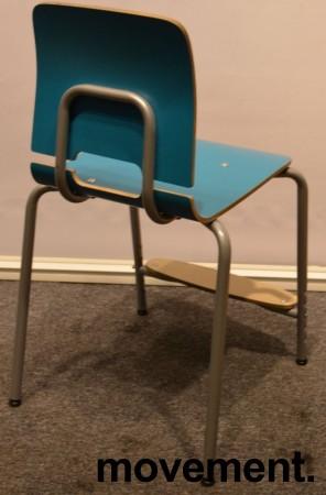 Stablestoler / skolestoler fra EFG, modell Classroom, stol med 4-ben, Turkis med fotplate, pent brukt bilde 4
