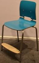 Stablestoler / skolestoler fra EFG, modell Classroom, stol med 4-ben, Turkis med fotplate, pent brukt