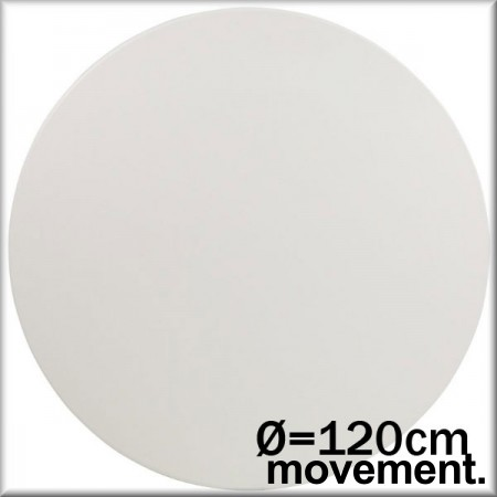 Rund bordplate i hvit laminat, Ø=120cm, NY/UBRUKT