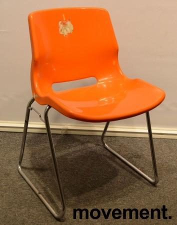 Overman vintage plaststol / skallstol / stablestol i orange/krom, Design: Svante Schöblom, brukt bilde 1