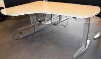 Duba B8 elektrisk hevsenk skrivebord i lysegrått, 168x119cm hjørneplate, sving v.s., pent brukt
