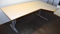 Duba B8 elektrisk hevsenk skrivebord i lysegrått, 200x120cm hjørneplate, sving h.s., pent brukt