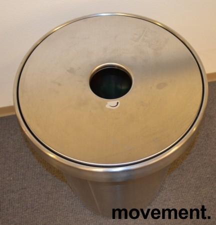 Papirkurv soppelkasse pant samler irustfritt stål fra IKEA, u00d8=48cm, hoyde 60cm, pent brukt