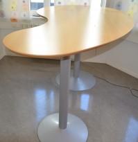 Barbord / ståbord i bjerk, organisk form, 200x110cm, høyde 105cm, pent brukt