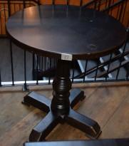 Restaurantbord / kafebord i massivt heltre, mørkbeiset, rustikk stil, Rund plate Ø=69,5cm, pent brukt