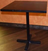 Restaurantbord / kafebord, slankt understell i metall, mørk plate, 64,5x60cm, pent brukt