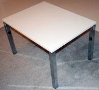 Lite loungebord i hvitt / krom, 80x60x50cm, pent brukt