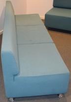 Loungesofa/ designsofa fra Cappellini, Design: Jasper Morrison, turkis stoff, 210cm bredde, pent brukt