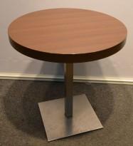 Kafebord, mørke plater, Ø=69cm, satinert stålunderstell, pent brukt