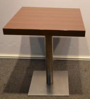 Kafebord, mørke plater, 59x59cm, satinert stålunderstell, pent brukt