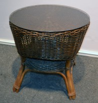 Rundt kurvbord med glassplate, Ø= 56cm, brunt, pent brukt
