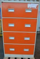 Dobbelt / bredt arkivskap fra Høvik Stål, 4skuffers, høyde 132cm, oransje skuffer, pent brukt