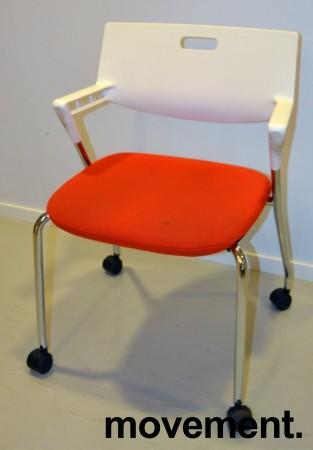 Konferansestol / besøksstol, Vitra Visaroll, rød og hvit, Design: A. Citterio, pent brukt bilde 1