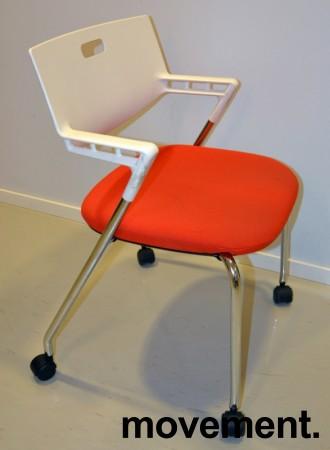 Konferansestol / besøksstol, Vitra Visaroll, rød og hvit, Design: A. Citterio, pent brukt bilde 2