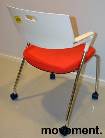 Konferansestol / besøksstol, Vitra Visaroll, rød og hvit, Design: A. Citterio, pent brukt bilde 3