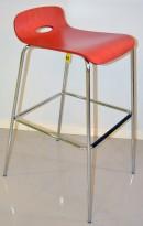 Barstol / barkrakk, sete i rødlakkert formspent finer, krom understell, sittehøyde 76cm, pent brukt