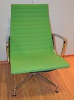 Vitra Eames Aluminium Group EA116, lenestol / høy loungestol i grønt, pent brukt