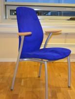 Kinnarps Plus 377 konferansestol i blått mikrofiberstoff, pent brukt